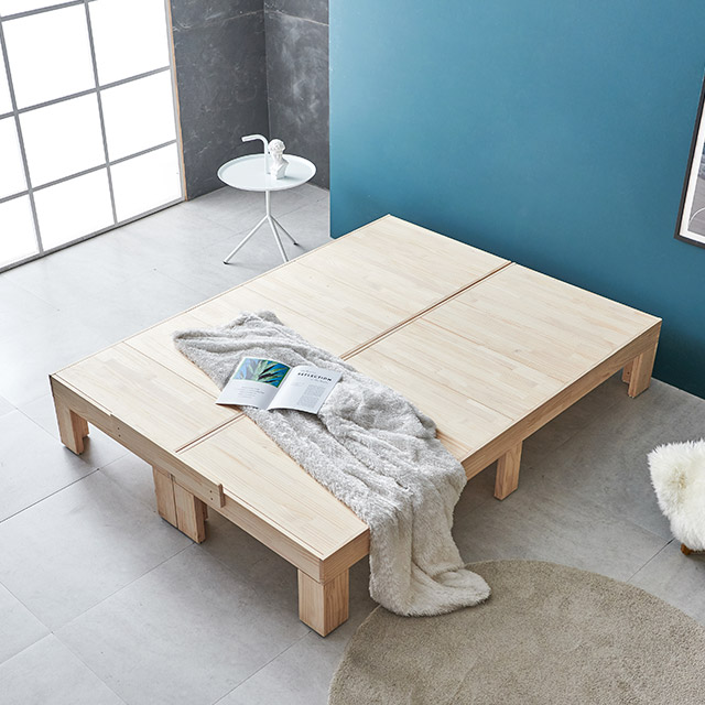 미송 원목 평상형 침대 Q (노헤드) H221